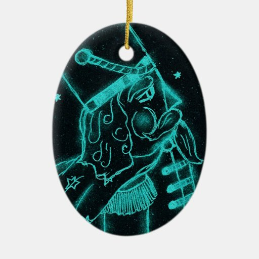 Toy Soldier in Black and Aqua Ceramic Ornament