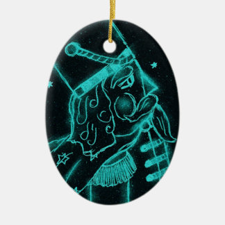 Toy Soldier in Black and Aqua Double-Sided Oval Ceramic Christmas Ornament