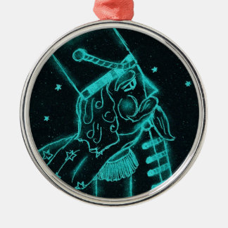 Toy Soldier in Black and Aqua Metal Ornament