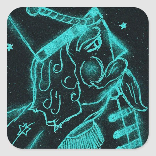 Toy Soldier in Black and Aqua Square Sticker
