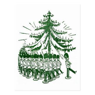 Toy Soldiers March Round a Tree Postcard