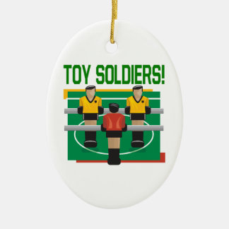 Toy Soldiers Double-Sided Oval Ceramic Christmas Ornament