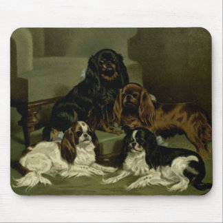 Toy Spaniels Posing Vintage Artwork Mouse Pad