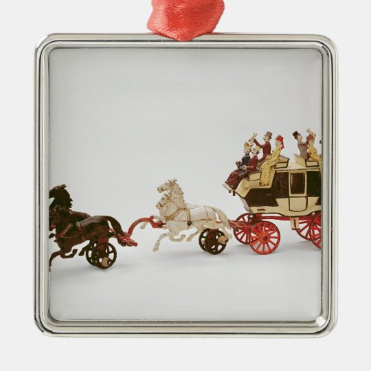 Toy stagecoach metal ornament