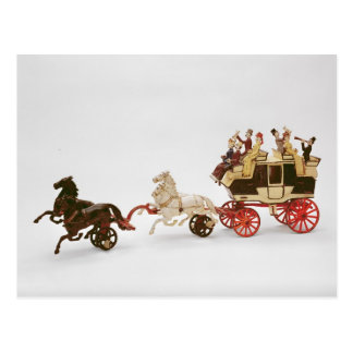 Toy stagecoach postcard