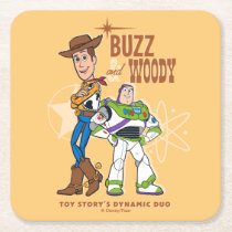"Toy Story 4 | Buzz & Woody ""Dynamic Duo"" Square Paper Coaster"