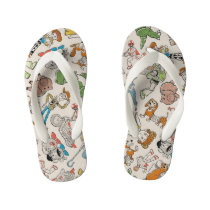 Toy Story 4 | Retro Character Toss Pattern Kid's Flip Flops