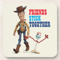 Toy Story 4 | Woody & Forky Walking Together Beverage Coaster
