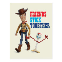 Toy Story 4 | Woody & Forky Walking Together Postcard