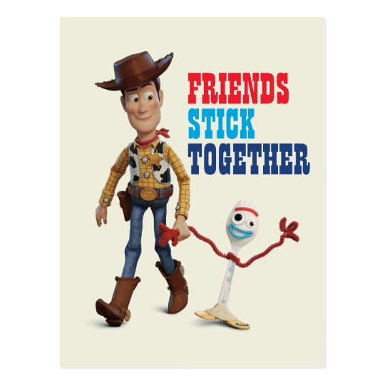 Toy Story 4 | Woody & Forky Walking Together Postcard ...
