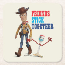 Toy Story 4 | Woody & Forky Walking Together Square Paper Coaster