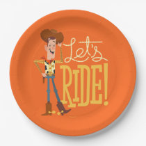 "Toy Story 4 | Woody Illustration ""Let's Ride"" Paper Plate"