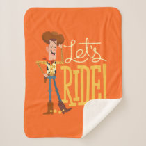 "Toy Story 4 | Woody Illustration ""Let's Ride"" Sherpa Blanket"