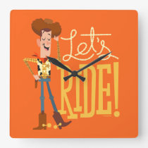 "Toy Story 4 | Woody Illustration ""Let's Ride"" Square Wall Clock"