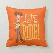 "Toy Story 4 | Woody Illustration ""Let's Ride"" Throw Pillow"