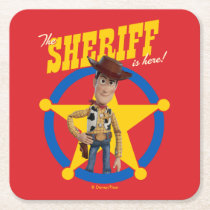 "Toy Story 4 | Woody ""The Sheriff Is Here"" Square Paper Coaster"