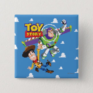 Toy Story 8Bit Woody and Buzz Lightyear Pinback Button