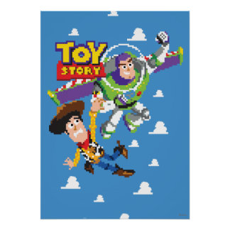 Toy Story 8Bit Woody and Buzz Lightyear Poster