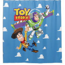 Toy Story 8Bit Woody and Buzz Lightyear Shower Curtain