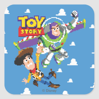 Toy Story 8Bit Woody and Buzz Lightyear Square Sticker