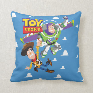 Toy Story 8Bit Woody and Buzz Lightyear Throw Pillow