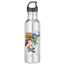 Toy Story 8Bit Woody and Buzz Lightyear Water Bottle