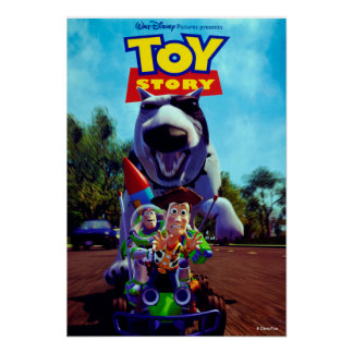 Toy Story Buzz Woody Racecar and Scud Poster