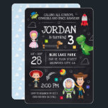 "Toy Story Chalkboard Birthday Invitation<br><div class=""desc"">Invite all your family and friends to your child&#39;s Toy Story themed Birthday Party with these trendy chalkboard invites. Personalize by adding all your party details.</div>"