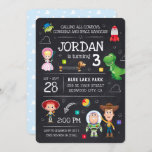 """Toy Story Chalkboard Birthday Invitation<br><div class=""""desc"""">Invite all your family and friends to your child's Toy Story themed Birthday Party with these trendy chalkboard invites. Personalize by adding all your party details.</div>"""