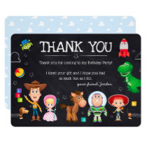 Toy Story Chalkboard Birthday | Thank You Invitation