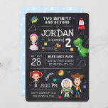 """Toy Story Chalkboard - Two Infinity and Beyond  Invitation<br><div class=""""desc"""">Invite all your family and friends to your child's Toy Story themed Second Birthday Party with these trendy chalkboard invites. Personalize by adding all your party details.</div>"""