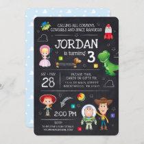 Toy Story Chalkboard Virtual Birthday Invitation