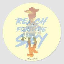 "Toy Story | ""Reach For The Sky"" Woody & Buzz Art Classic Round Sticker"