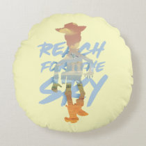 "Toy Story | ""Reach For The Sky"" Woody & Buzz Art Round Pillow"