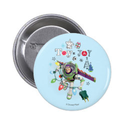 Round Button with Disney Christmas Ornaments design