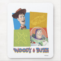 Toy Story's Buzz Lightlear and Woody Logo Mouse Pad