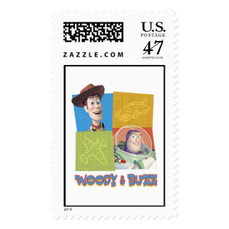 Toy Story's Buzz Lightlear and Woody Logo Stamp