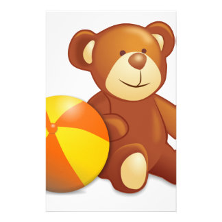 Toy Teddy Bear and Ball Stationery