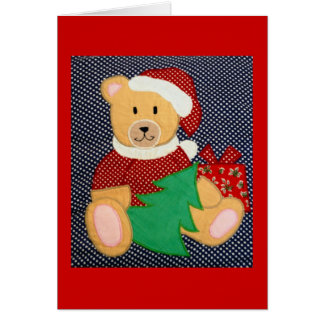 toy teddy bear christmas greeting card