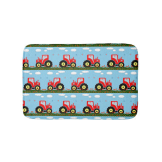 Toy tractor pattern bathroom mat