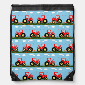 Toy tractor pattern drawstring backpack