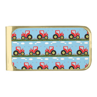 Toy tractor pattern gold finish money clip