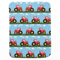Toy tractor pattern stroller blanket