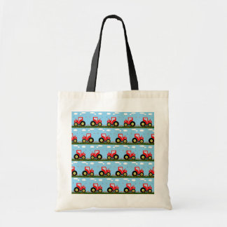 Toy tractor pattern tote bag