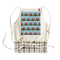 Toy tractor pattern zazzle HEART apron