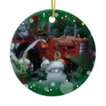 toy tractors for christmas 3 ceramic ornament