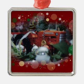 toy tractors for christmas 4 metal ornament