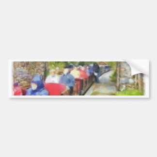 Toy train and adult passengers bumper sticker