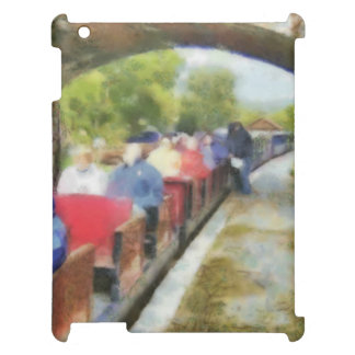 Toy train and adult passengers iPad covers