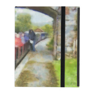 Toy train and adult passengers iPad folio cases